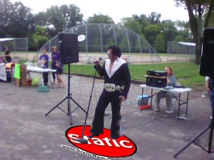 Elvis or rather Milesvis hits the stage at a local park